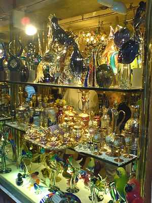 Venetian glass - Venetian glass in the shop window.
