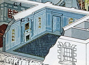 Vermeil Room - 1962 White House guide illustration showing the Vermeil Room redecoration by Stéphane Boudin.