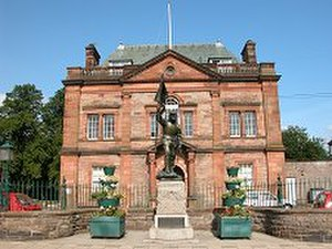 Selkirk, Scottish Borders - Statue of Fletcher outside Victoria Halls, Selkirk