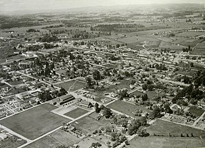 Beaverton, Oregon - Aerial view of Beaverton in the 1950s
