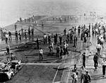 View of the forward flight deck of USS Oriskany (CVA-34) during 1966 fire.jpg