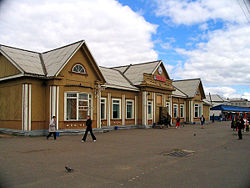 Old railway station building in Vikhorevka
