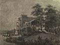 Villa Berg, Ostfassade mit Nymphenbrunnen, um 1860.jpg