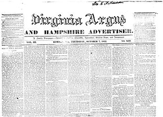 Virginia Argus and Hampshire Advertiser - Front page above the fold of an issue of the Virginia Argus and Hampshire Advertiser published on October 7, 1852.