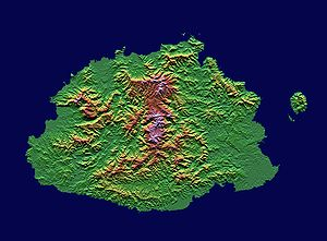 An enlargeable topographic map of the island o...