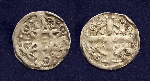 County of Flanders, AR maille or 'petit denier', struck in Ypres under Baldwin IX, Count of Flanders - Baldwin I of Constantinople