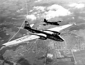 Martin RB-57D Canberra - Martin RB-57D 53-3977 shown in-flight with a Tactical Air Command B-57A bomber (black plane in this formation)