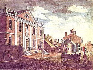 Library Company of Philadelphia - Library and Surgeon's Hall, Fifth-street Engraving, 1800, by William Russell Birch