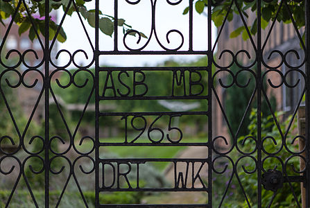 Detail of the gate of Ford's Hospital Almshouse in Coventry, UK