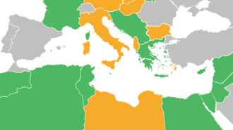 Mediterranean and Middle East theatre of World War II - A map showing the territories held by Allied (green), Axis (orange), and neutral (grey) powers at the outbreak of hostilities in the Mediterranean