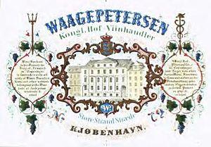 Christian Waagepetersen - Advertisement for Waagepetersen's wine dealing business