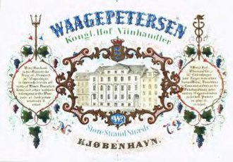 Christian Waagepetersen - Advertisement for Waagepetersen's wine dealing business