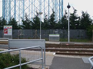 Waddon Marsh tram stop - Eastern entrance, with gasometer in background