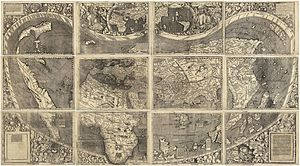 "Pacific Ocean - Universalis Cosmographia, the Waldseemüller map dated 1507, from a time when the nature of the Americas was ambiguous, particularly North America, as a possible part of Asia, was the first map to show the Americas separating two distinct oceans. South America was generally considered a ""new world"" and  shows the name ""America"" for the first time, after Amerigo Vespucci"