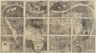 Continent - Universalis Cosmographia, Waldseemüller's 1507 world map—the first to show the Americas separate from Asia