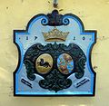 Wappen Asseburg Schulenburg 1710 am Haus Eremitage (Meisdorf).jpg