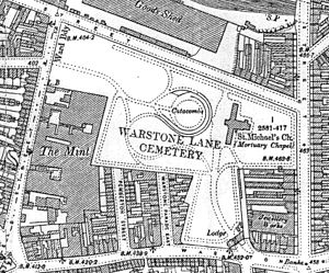 Warstone Lane Cemetery - 1903 Ordnance Survey Map