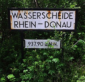 European watershed - Rhine–Danube watershed marker near Weitnau, Germany