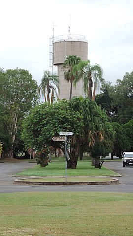 Water tower in the roundabout on The Boulevard, Theodore, 2014.JPG