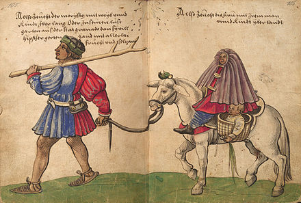 April: the Rebellion of the Alpujarras ends Weiditz Trachtenbuch 105-106.jpg