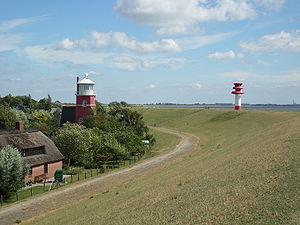 Wewelsfleth Leuchtturm-und-Unterfeuer-Hollerwettern Juli-2010 SL274818.JPG