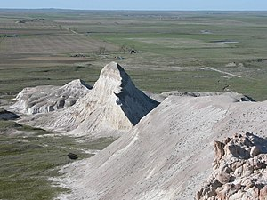 White Butte - A view of the shark fin rock from the top of the butte