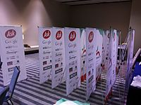 Wikimania 2015-Wednesday-Standing banners ready to be placed.jpg