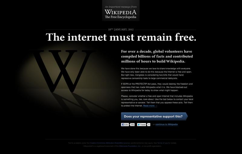 Wikipedia lidera el Ciber Apagón Mundial contra Ley SOPA