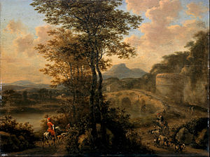 Willem de Heusch - Italian River Landscape with Stone Bridge