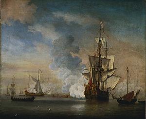 Willem van de Velde de Jonge - Brits oorlogsschip vuurde een saluut.jpg