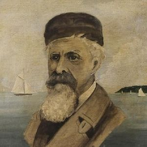 William Moore Davis - Self-portrait with Port Jefferson harbor