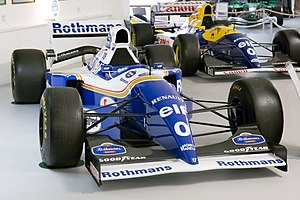 "Damon Hill - Hill's FW16 (1994) and FW15C (1993); he is one of only two drivers to have carried the number ""0"" in the history of the F1 world championship, and the only one to have carried it twice."