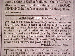 "Igbo Americans - Slave notice from Williamsburg, Virginia for a runaway ""Ibo Negro"""