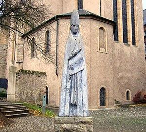 Wilgils - Statute of Wilgils's son Willbrord at Echternach.