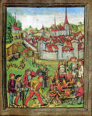 Witch-hunt - The burning of a woman in Willisau, Switzerland, 1447