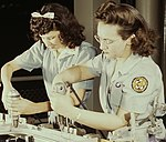 Women workers (right), Drilling a wing bulkhead for a transport plane at the Consolidated Aircraft Corporation1a34931v (cropped).jpg