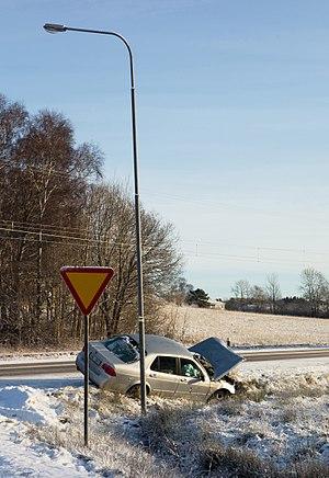 Wrecked car at Tuntorp, Brastad