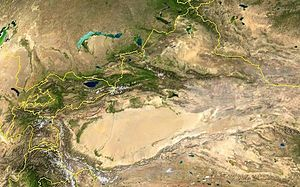 History of Xinjiang - A satellite view of the Xinjiang region