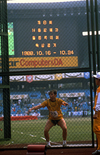 Australia at the 1988 Summer Paralympics - Australian discus competitor during the 1988 Seoul Paralympics