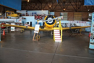 "Captains of the Clouds - Yale aircraft used by James Cagney in the Movie ""Captain of the Clouds"". Located in the Air Museum outside of Dunnville Ontario Canada."