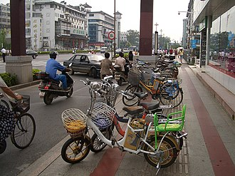 Environment of China - A large proportion of motor vehicles now sold in the cities of the Yangtze Delta are electric bicycles