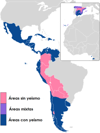 Yeísmo - Regions with the merger (yeísmo) in dark blue, and regions with distinction in pink.