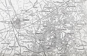 Actions of 30 September – 4 October 1917 - Map of the Ypres–Menin Road–Polygon Wood area, 1917