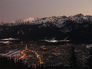 Zakopane at night.
