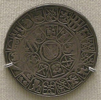 Zurich thaler of 1526 (reverse), styled after a Wappenscheibe design with the bailiwick coats of arms surrounding the city coat of arms at the center Zurigo, tallero d'argento del 1526.JPG
