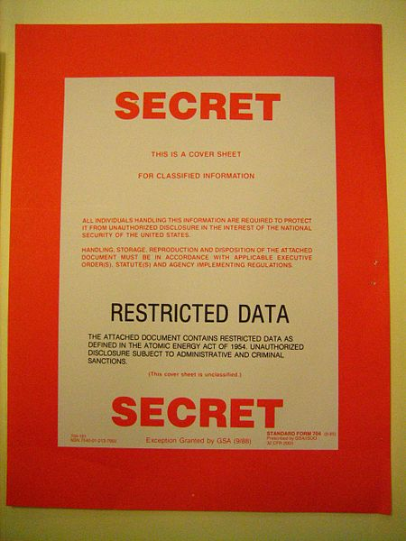 """File:""""Secret-Restricted Data"""" cover sheet (6322546385).jpg DescriptionA cover sheet designating the enclosed folder as containing information classified to at most the level of """"Secret-Restricted Data."""" From a set of meeting transcripts of the AEC General Advisory Committee, early 1950s. Date13 September 2011, 02:19 Source""""Secret/Restricted Data"""" cover sheet AuthorRestrictedData from Washington, DC"""
