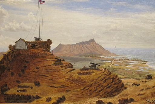 'View of Honolulu from Punchbowl, oil on canvas painting by Ejler Andreas Jorgensen , 1875, Honolulu Academy of Arts