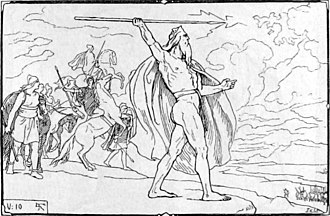 Vanir - Odin throws his spear at the Vanir host, illustration (1895) by Lorenz Frølich