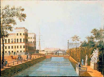The view north along the Swan Canal. The Upper Swan Bridge and the junction with the Neva are visible beyond a wooden bridge that has not survived to the present day. An 1839 work by Ivan Belonogov [ru]. Lebiazh'ia kanavka Belonogov.jpg