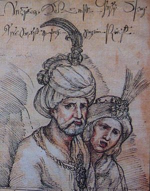 Teimuraz I of Kakheti - Teimuraz I and his wife Khorashan. A sketch from the album of the contemporaneous Roman Catholic missionary Cristoforo Castelli